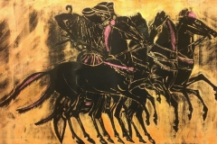 Poseidon and Aphrodite in a light chariot, drawn by four horses